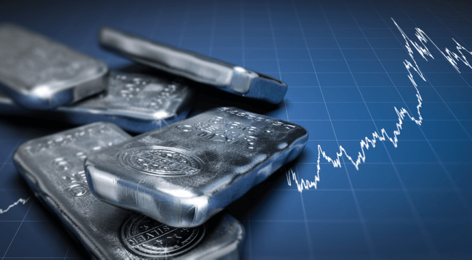 silver bars on silver chart in the background