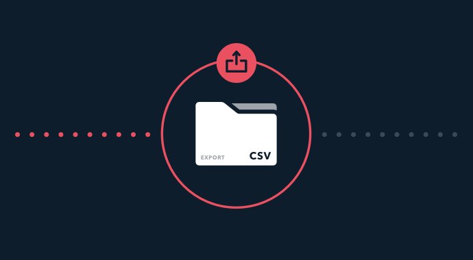 CVS export envelope in red circle with and arrow on a navy background