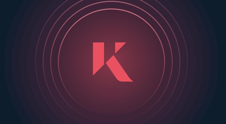 kinesis solution. gold-backed currency. Kinesis logo on navy background